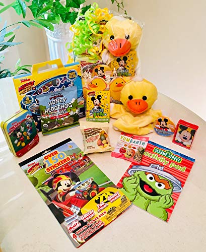 Ducky the Puppet Gift Basket for Boys/kids 3-8 with Fun Disney Mickey Theme Trinkets/Toys - Organic Cookies, Gummy Bears & More! You can count on this Super Cute Ducky the Duck! Birthday/Get Well