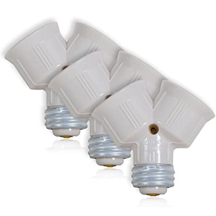 Maxxima Light Bulb Socket Splitter For LED, CFL And Standard Bulbs Pack Of 3