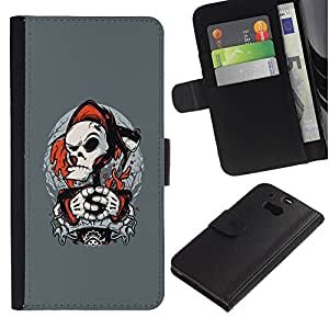 Protector de cuero de la PU de la cubierta del estilo de la carpeta del tirón BY RAYDREAMMM - HTC One M8 - Punk Parca