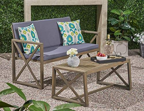 Luca Outdoor- Sunroom Furniture- Out Door Patio Furniture- Dark Gray Acacia Wood Two Piece Set - Great for Summer Barbecues, Garden Parties, and Afternoons Spent Lounging