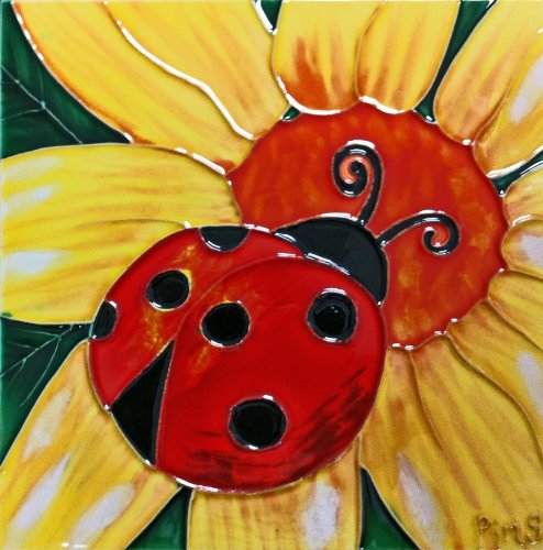 Continental Art Center BD-0718 8 by 8-Inch Ladybug with Yellow Daisy Ceramic Art Tile