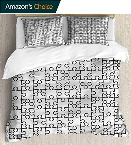 Full/Queen Size Quilt Bedding Set,Box Stitched,Soft,Breathable,Hypoallergenic,Fade Resistant 3 Piece Bedding Quilt Coverlets - 100% Cotton Bed Quilts Coverlet-Black And White Jigsaw Puzzle Game