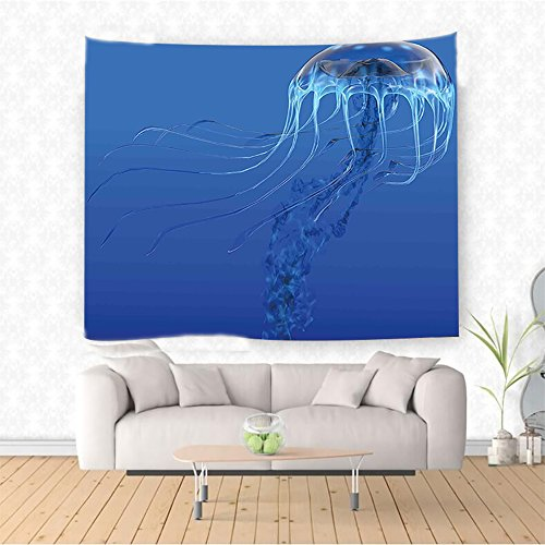 Nalahome Jellyfish Blue Spotted Jelly Fish Aquarium Life Marine Animals Ocean Predator in Deep Water Aquatic Blue Ethnic Decorative Tapestry Blanket Wall Art Design Handicrafts 59W x 39.3L Inches