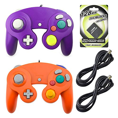 AreMe 2 Packs Game Cube Controllers with 2 Extension Cables and 128mb Memory Card for Nintendo Wii Gamecube GC Console(Purple+Orange)
