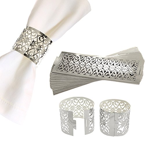 CB Accessories Premium Napkin Rings Set of 48 for Table Settings Decoration, Dinner Parties, Weddings, Special Events and Catering Services (Silver, 48 Pieces)