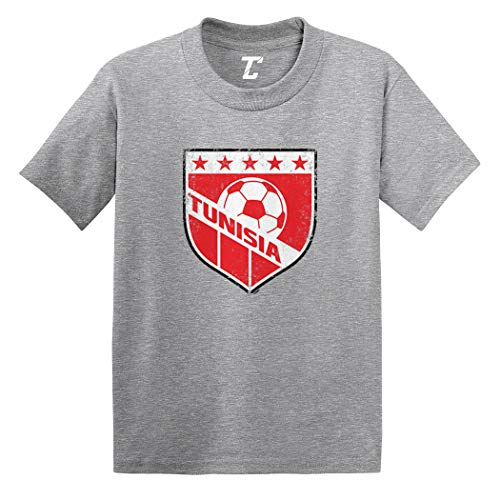 Tunisia Soccer - Distressed Badge Infant/Toddler Cotton Jersey T-Shirt (Light Gray, 5T)