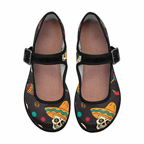 InterestPrint Womens Comfort Mary Jane Flats Casual Walking Shoes Multi 7 m94fb