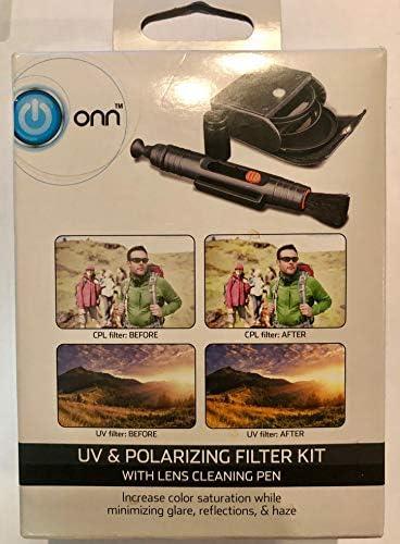 Onn UV&偏光フィルターキット レンズクリーニングペン付き