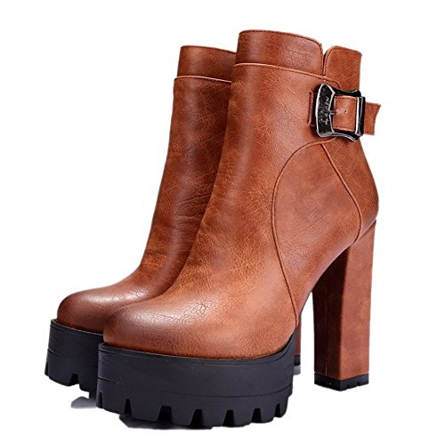 with Closed Round Buckle and Platform Womens Toe Camel AmoonyFashion Toe Heels Boots High 8aFtxn