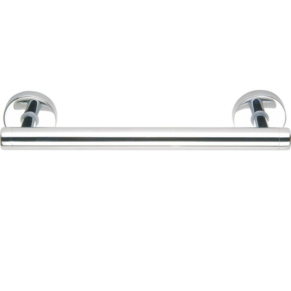 nie wieder bohren draad DK220 Maniglione moderno per vasca, 30 cm, in ottone massiccio, cromato e lucidato a specchio, con tecnica di fissaggio senza trapano