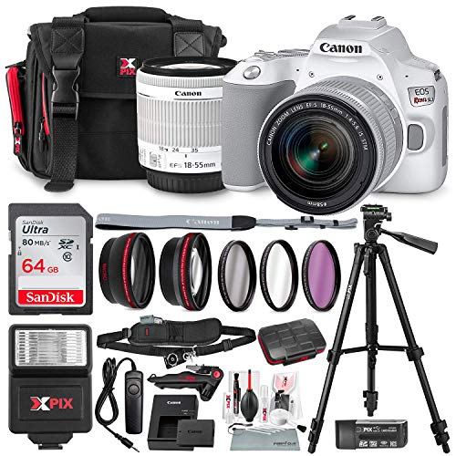 Canon EOS Rebel SL3 DSLR Digital Camera (White) with 18-55mm Lens + 64GB + Cases + Tripods + Premium Accessory Bundle (Best Dslr Camera App For Android)