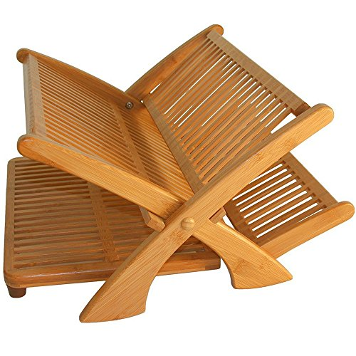 Multilevel Drying Rack for Kitchen Bamboo Wooden Folding Lar