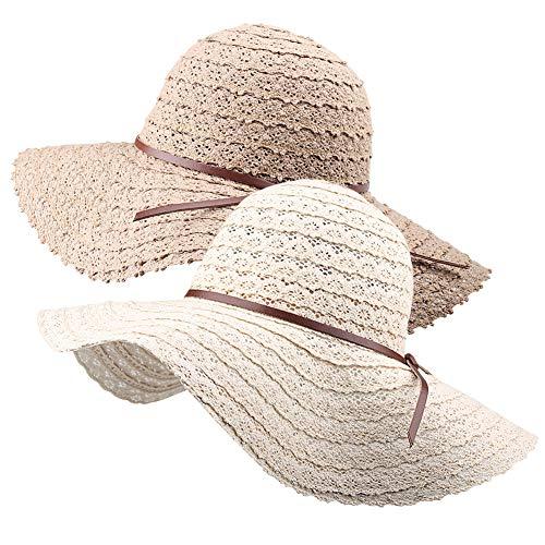(Wide Brim Sun Hats for Women Floppy Summer Beach Hat UV UPF Travel Packable Foldable with Chin Cord FURTALK Beige/Khaki)