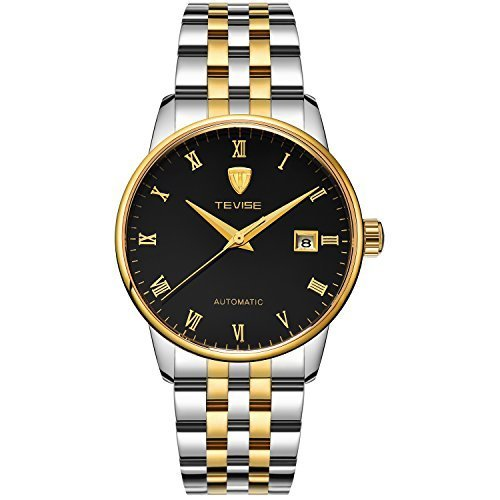 TEVISE Men's Fashion Dress Automatic Watch Thin Black Dial Golden and Silver Band