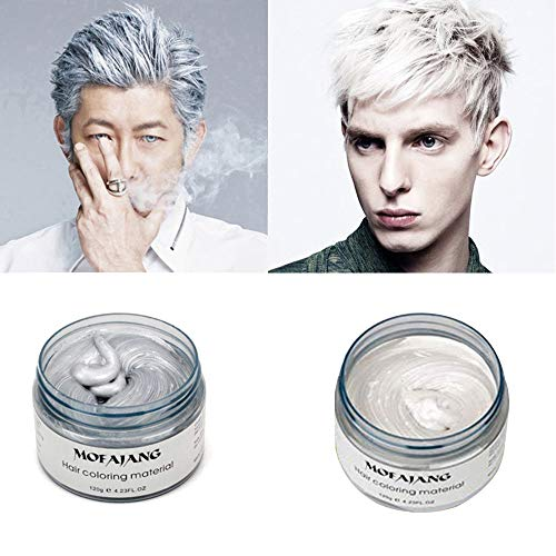 MOFAJANG Temporary Hair Color Wax,2 Colors - Sliver Grey, White, Fun and Effective Modeling Fashion DIY Hair for Show,Party, Cosplay, Halloween, Date