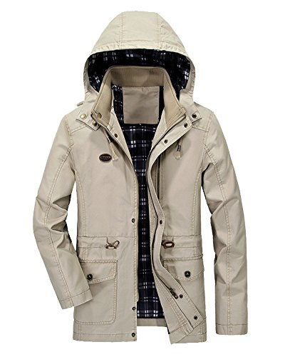 Minetom Men's Spring Autumn Warm Zipped Hooded Jacket Tops Casual Long Sleeve Thicken Lined Trench Coat Parka Outerwear A- Khaki