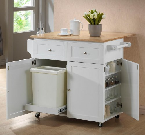 Chefs Helper collection white and natural finish wood top large kitchen storage (Kitchen Island With Drop Leaf)
