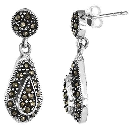 Sterling Silver Marcasite Teardrop Dangle Post Earrings 11/16 inch - Earrings Teardrop Marcasite