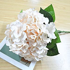 Shine-Co Artificial Hydrangea Flowers 5 Big Heads Bouquet Beautiful Flowers for Office Home Party Decoration 2