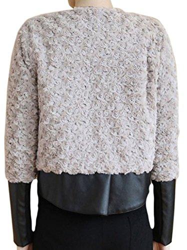 erdbeerloft - Damen Flauschige Jacke asymmetrisch Lederoptik, Grau, XS-2XL