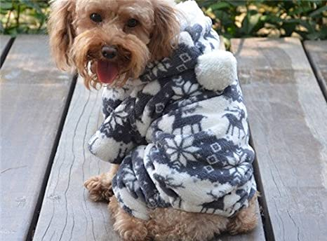 Qiyun.Z Dog Christmas Hoodie with Snow and Reindeer Design Warm Winter Pullover Sizes S XL XXL L M