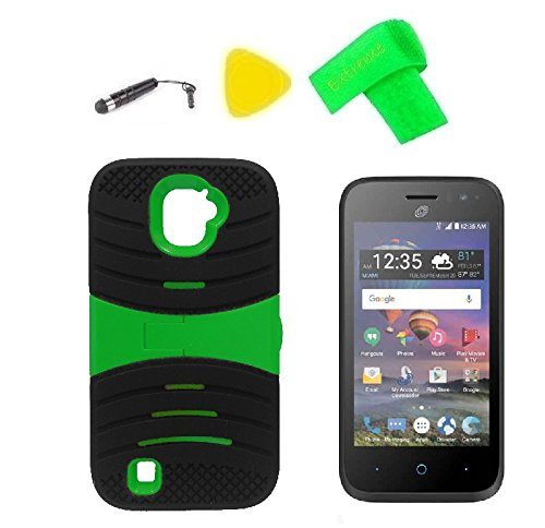 U-Stand Hybrid Cover Case Phone + Screen Protector + Extreme Band + Stylus Pen + Pry Tool For ZTE Jasper LTE Z718TL (U-Stand Black Green)