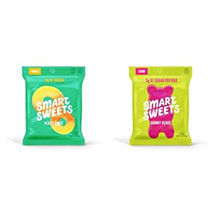 SmartSweets Peach Rings 1.8 Oz Bags (Box Of 12), Candy With Low Sugar (3g) & Low Calorie (80) & Gummy Bears Sour 1.8 Ounce, Candy With Low-Sugar (3g) & Low Calorie (90), 12 Count