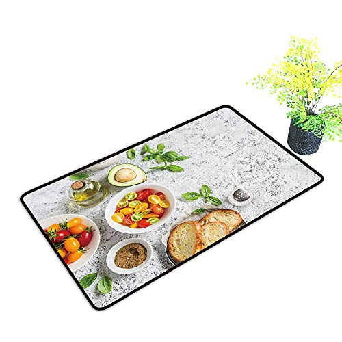 gmnalahome Super Absorbs Mud Doormat redients for bruschetta Tomatoes Avocado Basil Olive Oil brea No Odor Durable Anti-Slip W39 x H15 -