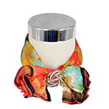Fashion Women Small 100% Silk Neck Square Scarf Coloful Ink Pattern Ideal Gift Red