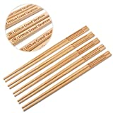 50 Pairs 10 Inch Natural Bamboo Chinese Chopsticks Engraved with Custom Logo - Choice of Corporation Buyers - Wholesale Washable High Quality Bamboo Chopsticks in Bulk for Wedding or Business Function
