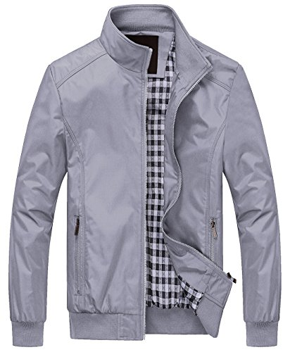 ve Lightweight Softshell Zipper Bomber Jacket (X-Small, Light Grey) ()