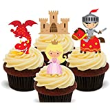 Fairy Tale Knights, Princesses and Dragons, Kids Edible Cupcake Toppers - Stand-up Wafer Cake Decorations by Made4You