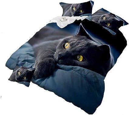 Piumone Matrimoniale Animali.4piece Dark Night Black Cat 3d Set Copripiumone Stampe Animali Set