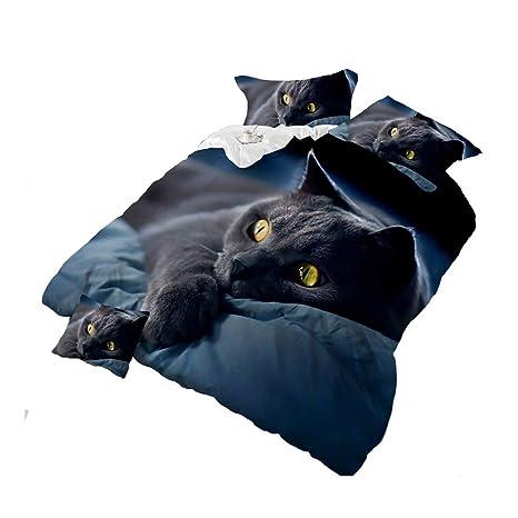 4Piece oscuro noche gato negro 3d juego de ropa de cama Animal Prints juego de funda