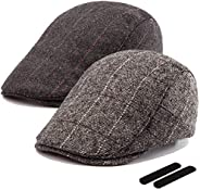 LADYBRO Ivy Hat Newsboy Cap Men - 30% Wool Hats for Men Irish Tweed Flat Cap Gatsby Hat 2Pack