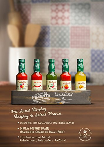 Price comparison product image Sabor das Indias Gourmet Hot Sauces Pack of 5 (Habanero,  Jalapeno,  Jolokia,  Malagueta,  Bode) - Our Top Selling Gourmet Hot Sauces With a Special Eddition Stand (55ml each)