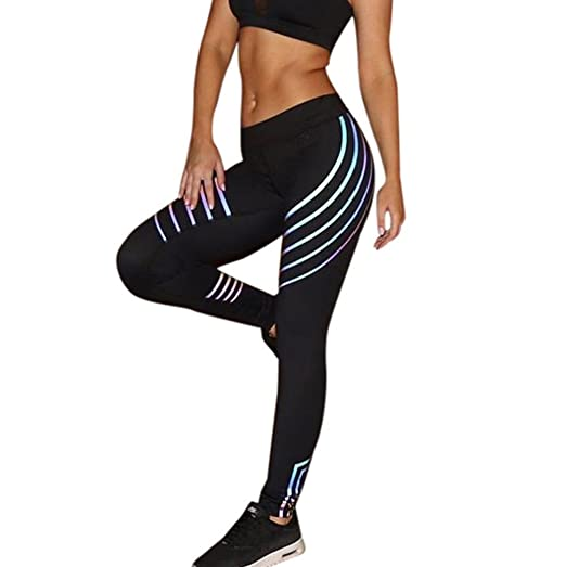 ffebb27ad87b7 Amacok Women's Laser Color Stripe High Waist Ankle-Length Casual Leggings  Sports Training Athletic Yoga