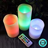 SKEMiDEX---3pc LED Flameless Candles 4'' 5'' 6'' Pillar 12 Color Changing w/ Remote Glow NEW. This is a beautiful set of Battery operated Pillar Candles that light Multi-Colored LED colors