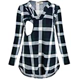 Cinery Women's Long Sleeve Nursing Tops Notch Neck Plaid Breastfeeding Clothes