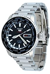 Mens Watch Seiko SRP127 Stainless Steel Automatic Black Dial World Time Bezel