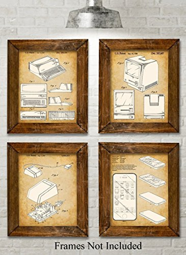 Ibm Photo - Original Steve Jobs Computer Patent Art Prints - Set of Four Photos (8x10) Unframed - Great Gift for Computer Geeks/Gurus and Tech Support