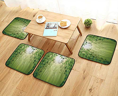 - Printsonne Simple Modern Chair Cushions Bamboo Trees in Rain Forest r Eastern Wildlife Tropical Nature Reusable Water wash W27.5 x L27.5/4PCS Set