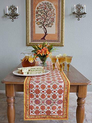 Saffron Marigold Orange Blossom ~ Persian Mediterranean Floral Table Runner 18x108 ()