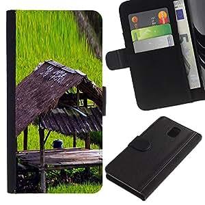 KingStore / Leather Etui en cuir / Samsung Galaxy Note 3 III / Planta Naturaleza Forrest Flor 100