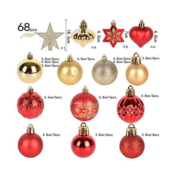 YILEEY Decorazioni Albero di Natale Palline di Plastica Oro e Rosso 68 Pezzi in 14 Tipi, Scatola di Palline di Natale Infrangibili con Gancio, Ornamenti Decorativi Ciondoli Regali 2 spesavip