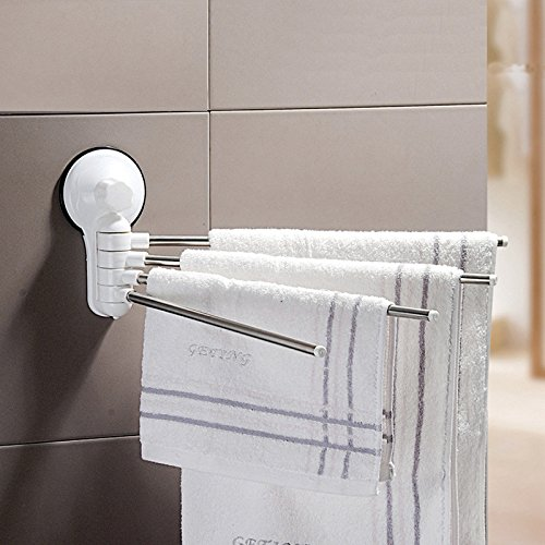 180 Degree Free Rotation Stainless Steel Rotating Towel Rack Bathroom Towel Rack Towel Hanging Towel Rod, four-bar with Strong Suction Cups by Sunsang