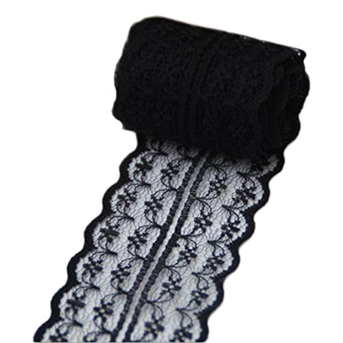 Qinlee Black Lace Ribbon Trim 1.8