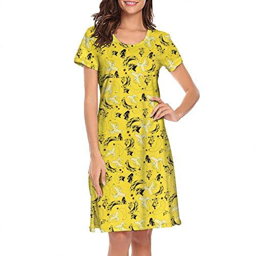 SNKIDNTI Sleepwear Women's Nightgown Cotton Sleep Shirt Cute Banana Nutrition Sleep Tee Nightshirt S-XL -