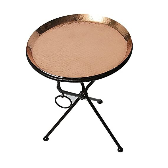 Copper Drink Tray Table for Living Room, Kitchen and Patio by Alchemade - PERFECT ACCENT: This End Table Measures 19.5 Inches Tall by 15.25 Inches Wide. It is the perfect size to easily move and transport if needed! TWO PIECES: The 100% High Quality Copper Tray is Easily Removed From The Base for Transport. Perfect for Tailgating or for Patio Parties! PERFECT GIFT: The Copper End Table by Alchemade Makes the Perfect Gift for Anyone on Your List and is Sure to Impress! - living-room-furniture, living-room, end-tables - 510S6oiDoPL. SS570  -