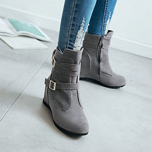 Size Boots RAZAMAZA Zipper Wedge Women Grey pv0qEY4E